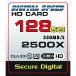 Digital Speed 2500X 128GB Professional High Speed Mach III 350MB/s Error Free (SDHC) HD Memory Card Class 10