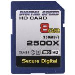Digital Speed 2500X 8GB Professional High Speed Mach III 350MB/s Error Free (SDHC) HD Memory Card Class 10